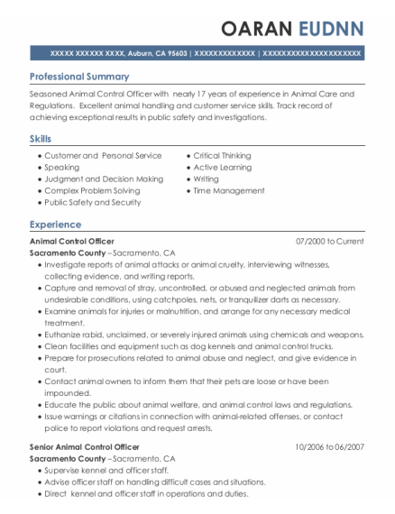 Animal Control Officer resume example California