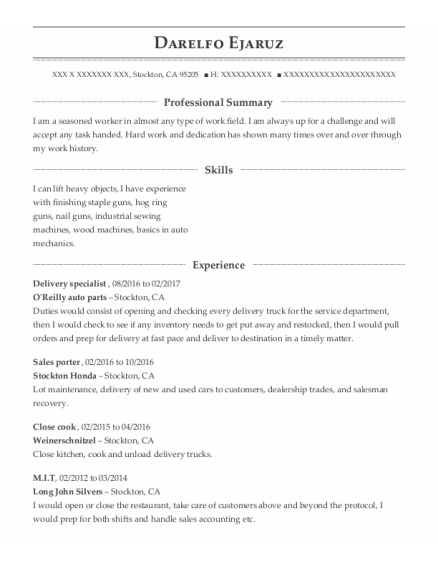 Delivery Specialist resume format California