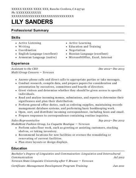 Assistant to the CEO resume example California