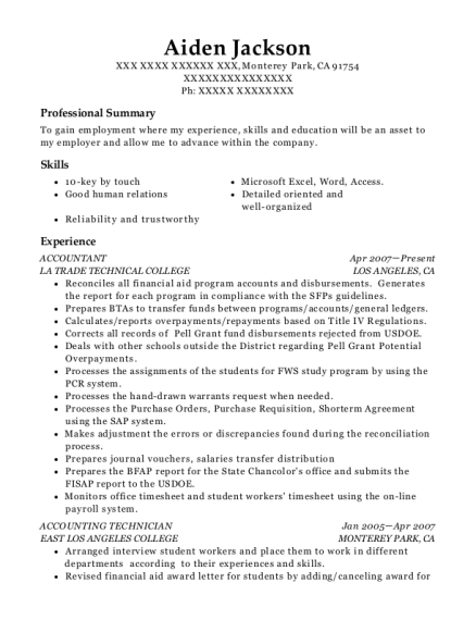Accountant resume template California