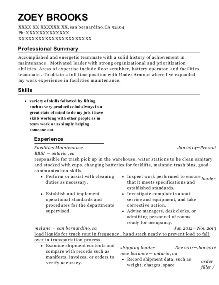 Facilities Maintenance resume sample California