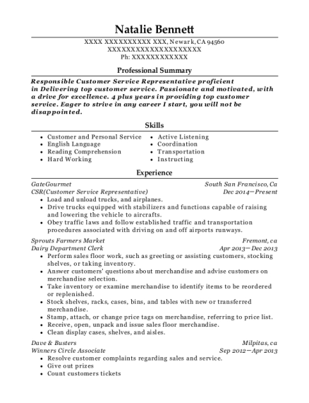 CSR resume sample California