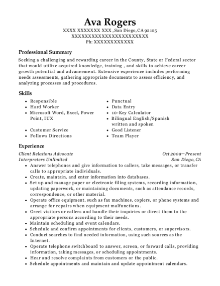 Client Relations Advocate resume example California