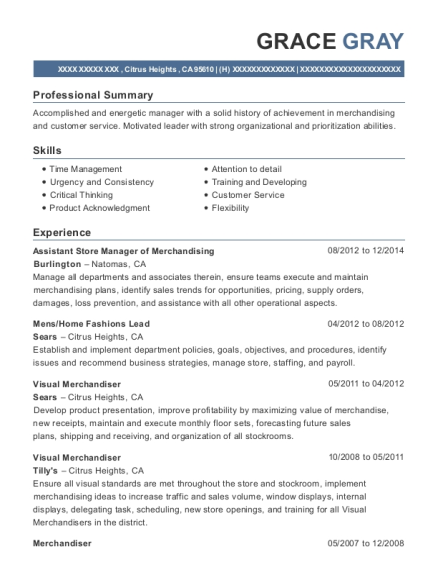 Assistant Store Manager of Merchandising resume example California