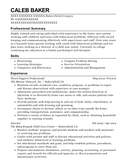 Direct Support Professional resume template California