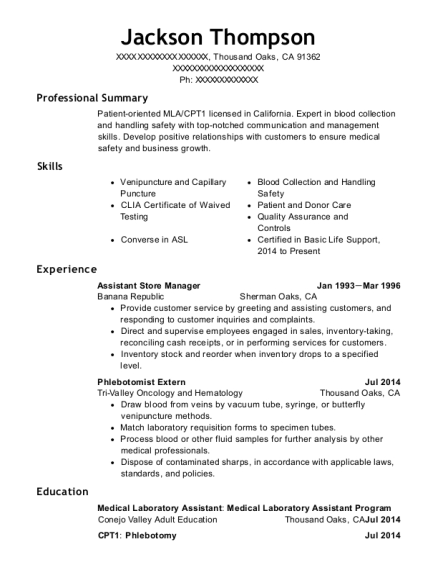 Assistant Store Manager resume example California