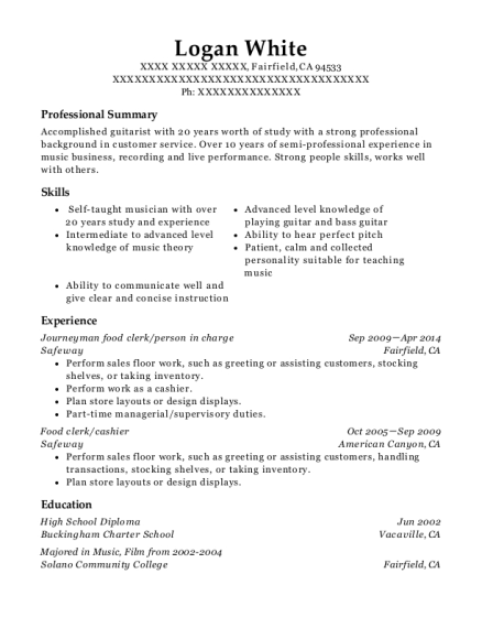 Journeyman food clerk resume sample California