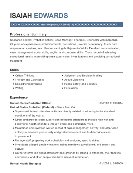United States Probation Officer resume template California