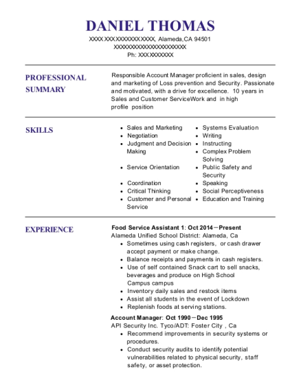 Food Service Assistant 1 resume sample California