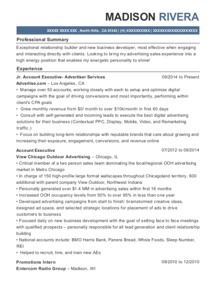 Jr Account Executive Advertiser Services resume sample California