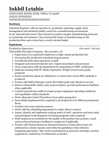Production Supervisor resume template California