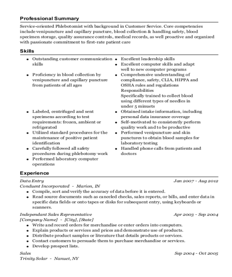Data Entry resume example California