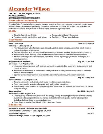 Sales Consultant resume example California