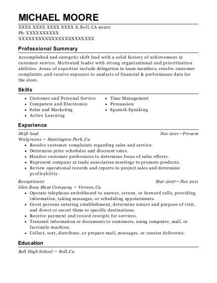Shift lead resume example California