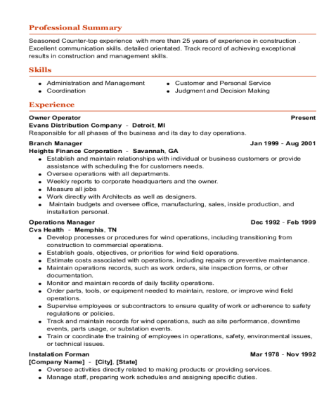 Owner Operator resume sample California