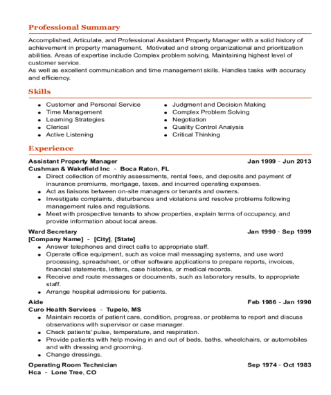 Assistant Property Manager resume template California