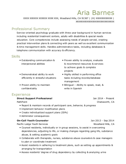 Direct Support Professional resume format California