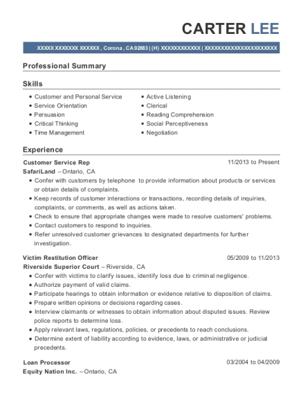 Customer Service Rep resume format California