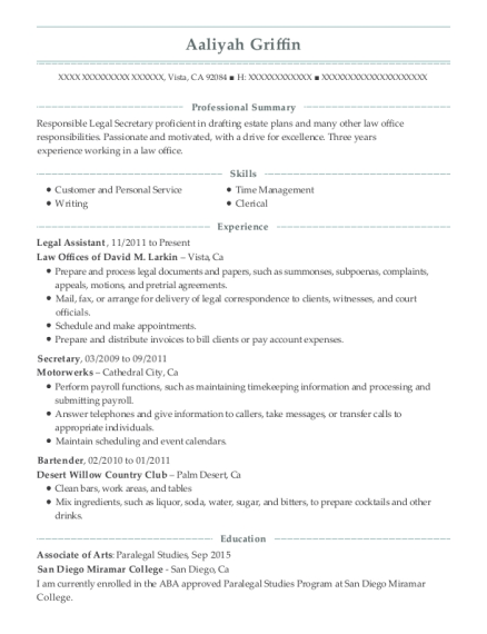 Legal Assistant resume template California
