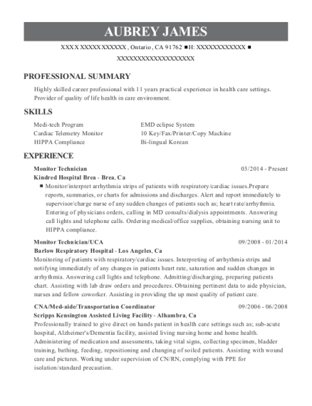 Monitor Technician resume template California