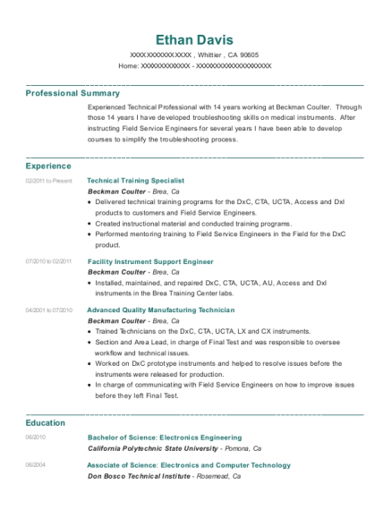 Technical Training Specialist resume format California