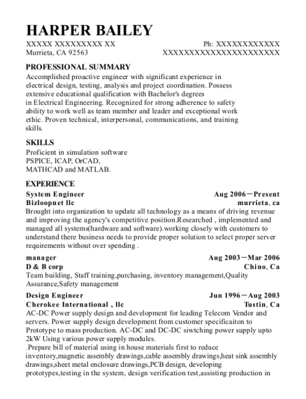 System Engineer resume example California