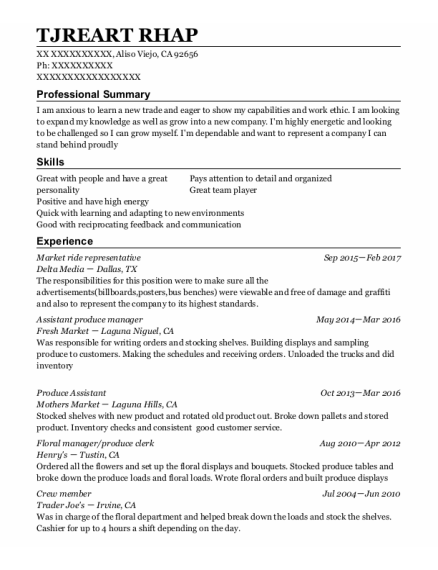 Assistant Produce Manager resume template California