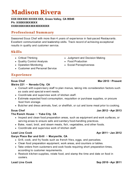 Sous Chef resume template California