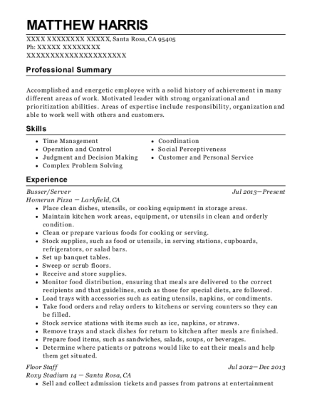 Busser resume sample California