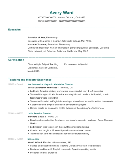 North America Hispanic Ministries Director resume example California