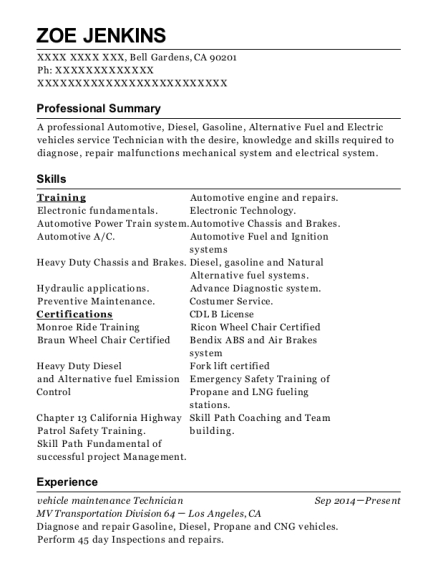 vehicle maintenance Technician resume template California