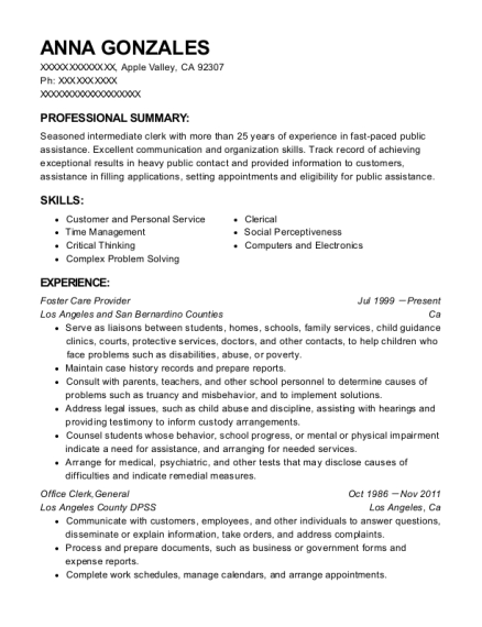 ihss care provider resume sample