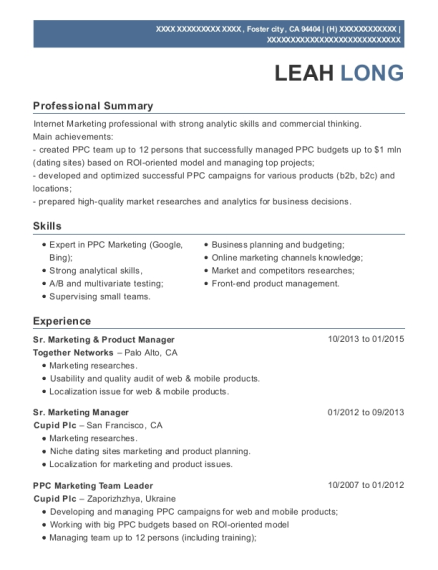 Sr Marketing & Product Manager resume format California