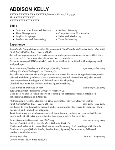 Worldwide Freight Services Co Shipping and Handling resume example California