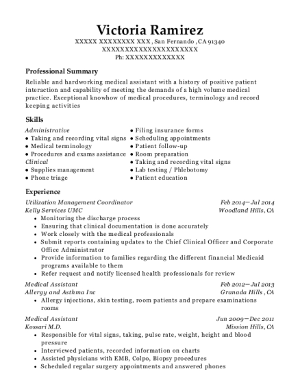 Utilization Management Coordinator resume template California