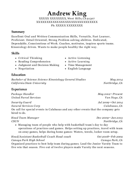 Package Handler resume format California