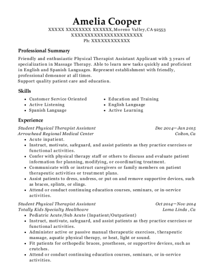 Student Physical Therapist Assistant resume format California