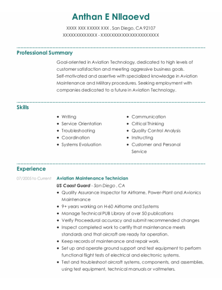 Aviation Maintenance Technician resume example California
