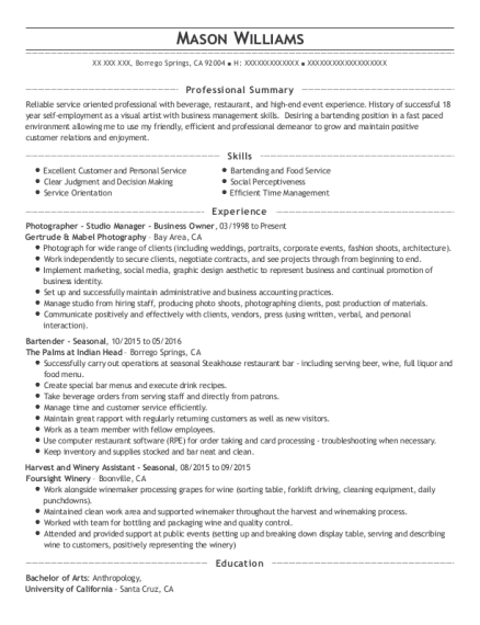 Photographer Studio Manager Business Owner resume format California