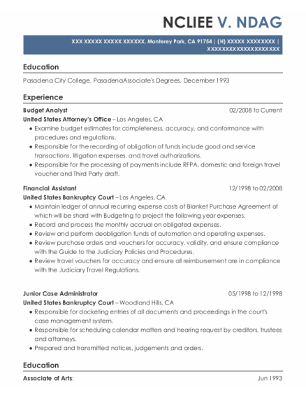 Budget Analyst resume format California