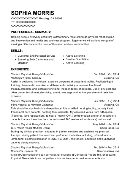 Student Physical Therapist Assistant resume template California