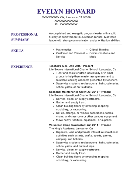 Teachers Aide resume format California