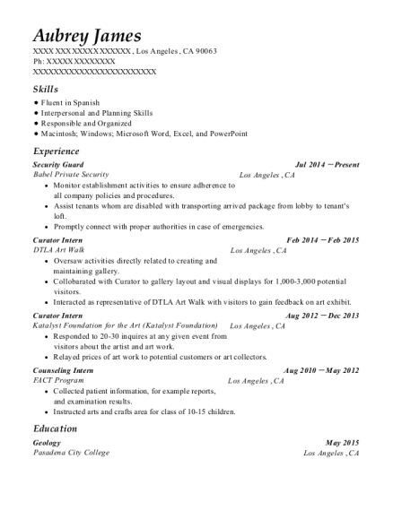 Security Guard resume example California