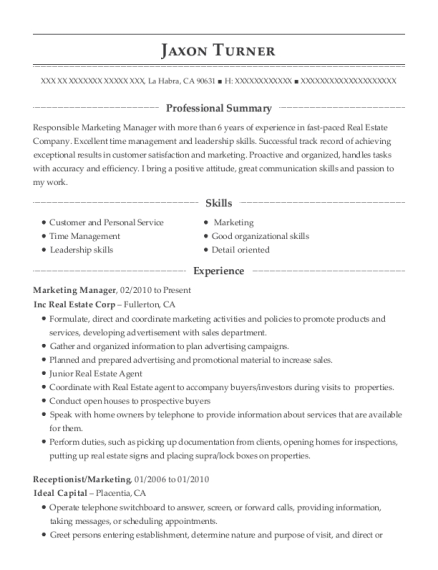 Marketing Manager resume template California