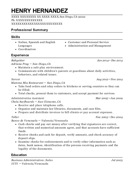 Babysitter resume template California