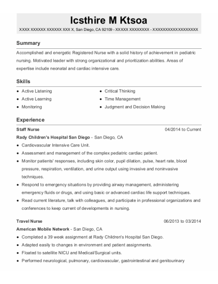 Staff Nurse resume template California