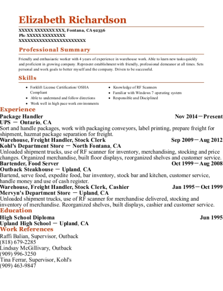 Package Handler resume example California