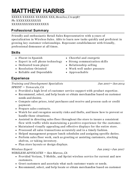 Training and Development Specialists resume template California