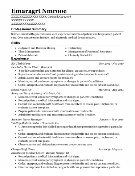 Assistant Nurse Manager resume sample California
