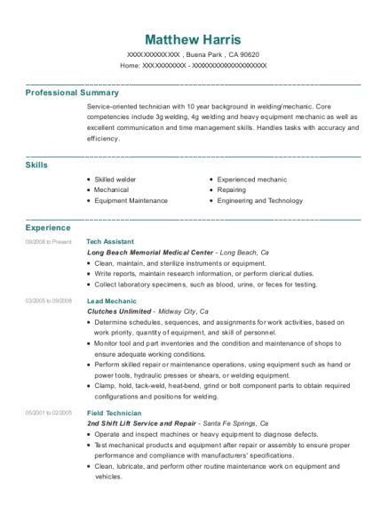 Tech Assistant resume template California